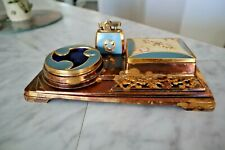 Vintage Art Deco Enamel Lighter Ashtray Cigarette Box Set