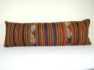 16'' X 48'' Bohemian Woven Colorful Bedding Kilim Pillow Cover, Long Bed Pillow