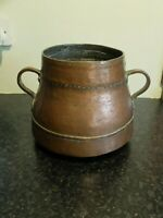 Antique late 19th century copper bowl/kettle/pot with two handles