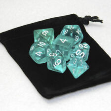 7 Pcs Polyhedral Dice Set Cloud Drop Translucent Teal RPG DnD Game With Bag CHI