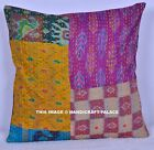 "16"" Indian Handmade Kantha Decor Boho Throw Pillow Cushion Cover Embroidered Art"