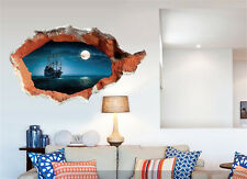 Ocean ship moon scenery Home Room Decor Removable Wall Stickers Decal Decoration