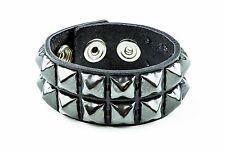 Gun Metal Pyramid Stud Leather Punk Goth Club Rockabilly 2 Row Bracelet
