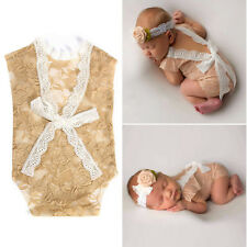 Newborn Baby Bodysuit Romper Girl Lace Photo Props Floral Photography Costume BN