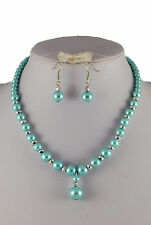 TURQUOISE OR GREEN SILVER BEAD & GLASS PEARL DROP NECKLACE & EARRINGS SET