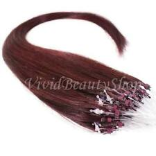 25 Micro Loop Ring Beads I Tip Indian Remy Human Hair Extensions Dark Red 0.8g