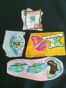 7 USED STAMPS OF SIERRA LEONE 1969 MAP, STAMP ON STAMP, SCOUTS MULTICOLOURED.