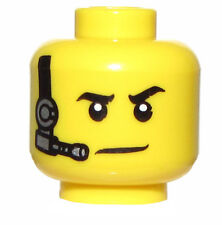 LEGO NEW MINIFIGURE HEAD WITH HEADSET MICROPHONE AGENT POLICE SWAT FACE