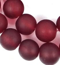 25 Frosted Sea Glass Round / Rocaille Beads Matte - Dark Ruby 10mm