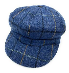 Women's Harris Tweed Baker Boy Cap Blue Overcheck  Made in the UK