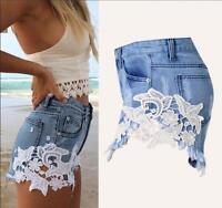 Hot Sale Women High Waist Tassel Hole Shorts Jeans Denim Lace detail Short Pants
