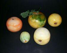 Vintage Italian Polished Alabaster Marble Fruit Set of 5