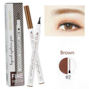 Waterproof 4 Fork Eyebrow Pen Pencil Eye Brow Eyeliner Natural Makeup Brown