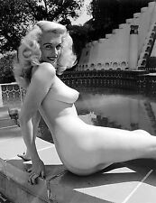 1960s Mature nude blonde pinup sitting at pool side 8 x 10  Photograph