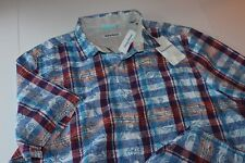 Tommy Bahama Camp Shirt Tropico Madras Cobalt Blue T318527 New Extra Large XL