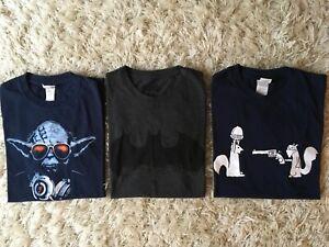 Men Boys T Shirt Bundle Star Wars Yoda - Dueling Squirrels - Batman size S VGC