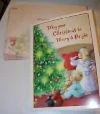 16 Christmas Cards & Envelopes Blonde Children Teddy Bear Holiday Tree 6X8