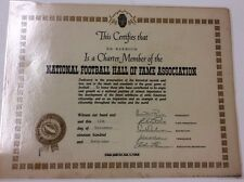 Vintage National Football Hall Of Fame Association Member Certificate 1949
