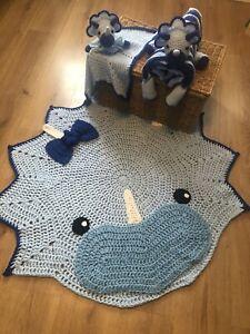 baby triceratops dinosaur nursery set, blanket, rug, comforter (made to order)