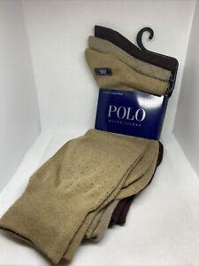 Polo Ralph Lauren Dress Socks Cotton Blend Khaki Brown 3 Pack *Fast Ship* NWT