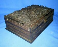 Vintage Teak Wood Hand Carving Flower Design Small Jewelry Box/ Storage Box