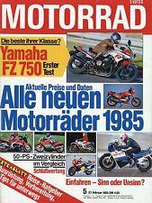Motorrad 5/85 1985 BMW R80 Cagiva Alazzurra 650 Jawa 350 Kawasaki GPZ750R moto