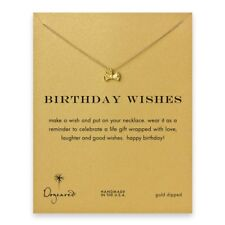 Dogeared Gold Dipped Reminder Necklace - Birthday Wishes with Ribbon Bow