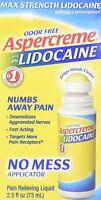 Aspercreme Max Strength No-Mess Roll-On Liquid w/ Lidocaine 2.5 oz