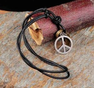Men's Vintage Leather Cool Metal Peace Charm Surfer Necklace Choker Black