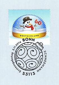 Frg 2014: Snowman No. 3111 With Sauberem Bonner First Day Special Cancellation!