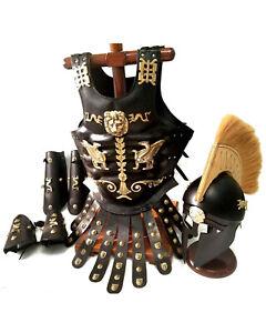 Medieval Wearable CORINTHAN Greek Leather Muscle Armor , Leg & Arm Guard Helmet