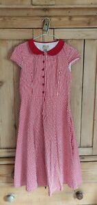 Lindy Bop 50s Vintage Retro American Diner Style Size 8 Dress Red White Stripes