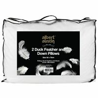 2x Luxury Duck Feather and Down Pillow, Comfortable Extra Filling Hotel Quality