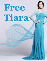 REINE DES NEIGES ELSA adulte robe costume déguisement bleu Perruque de luxe