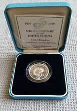 1995 Silver Proof Two Pound Coin 50th Anniversary of the United Nations, box/COA