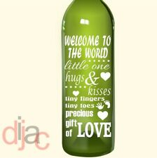 WELCOME BABY VINYL DECAL STICKER  for WINE BOTTLE, CANDLE, LANTERN 17.5 x 8 cm