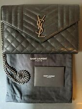 YSL Bag -CHEVRON/QUILTED GUNMETAL clutch/bag/purse- Authentic Yves Saint Laurent