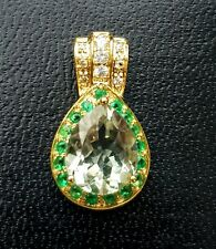 Natural Green Amethyst White Sapphire Emerald Solid Yellow Gold Pendant Necklace