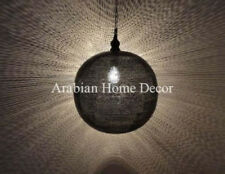"Handcrafted Moroccan Black Oxidize Pinholes Brass 16"" Pendant Light Lamp"
