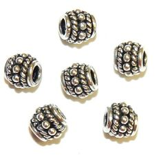 MB692f Sterling Silver Bali-Style Rope & Dot 9mm Tapered Oval Barrel Beads 6pc