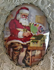 SANTA PAINTING DOLL HOUSE Glass Oval Dome BUTTON XL Vintage Christmas Card Toy