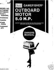 SEARS Gamefisher 5 hp Owners Manual on cd 217.585460  217.585470 LS