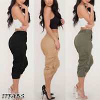 US Women Casual Pencil Pants High Waist Pockets 3/4 Cargo Jogger Slim Trousers