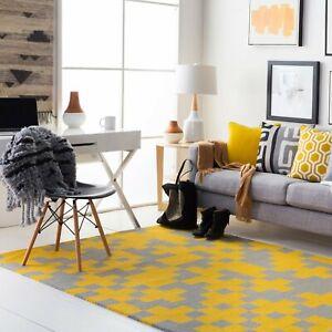 Tetris Yellow & Gray Geometric Hand-Tufted 100% Wool Soft Area Rug Carpet.