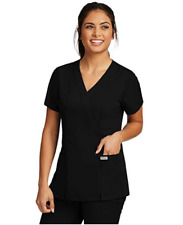 Grey's Anatomy Scrubs Womens Mock Wrap Top Princess Seams 41101 All Color & Size