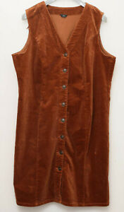 M&CO size 20 sleeveless calf lenght brown cord pinafore dress worn