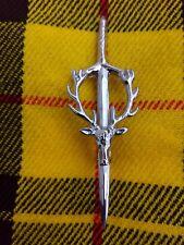 Scottish Stag Head Kilt Pin Chrome Finish Brooch Kilt Pin Scottish Pin