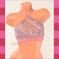 VS VICTORIA'S SECRET ~Bralette~ Lace High-Neck Top Unlined Front S Small Floral
