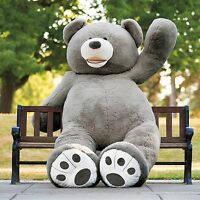 "93""/230cm Grey Bear Plush Teddy Bear Giant Stuffed Animal Toys Huge Xmas Gift uk"