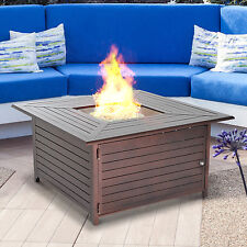 Outsunny Aluminum Gas Fire Pit Outdoor Firepit Table Propane Fireplace Backyard
